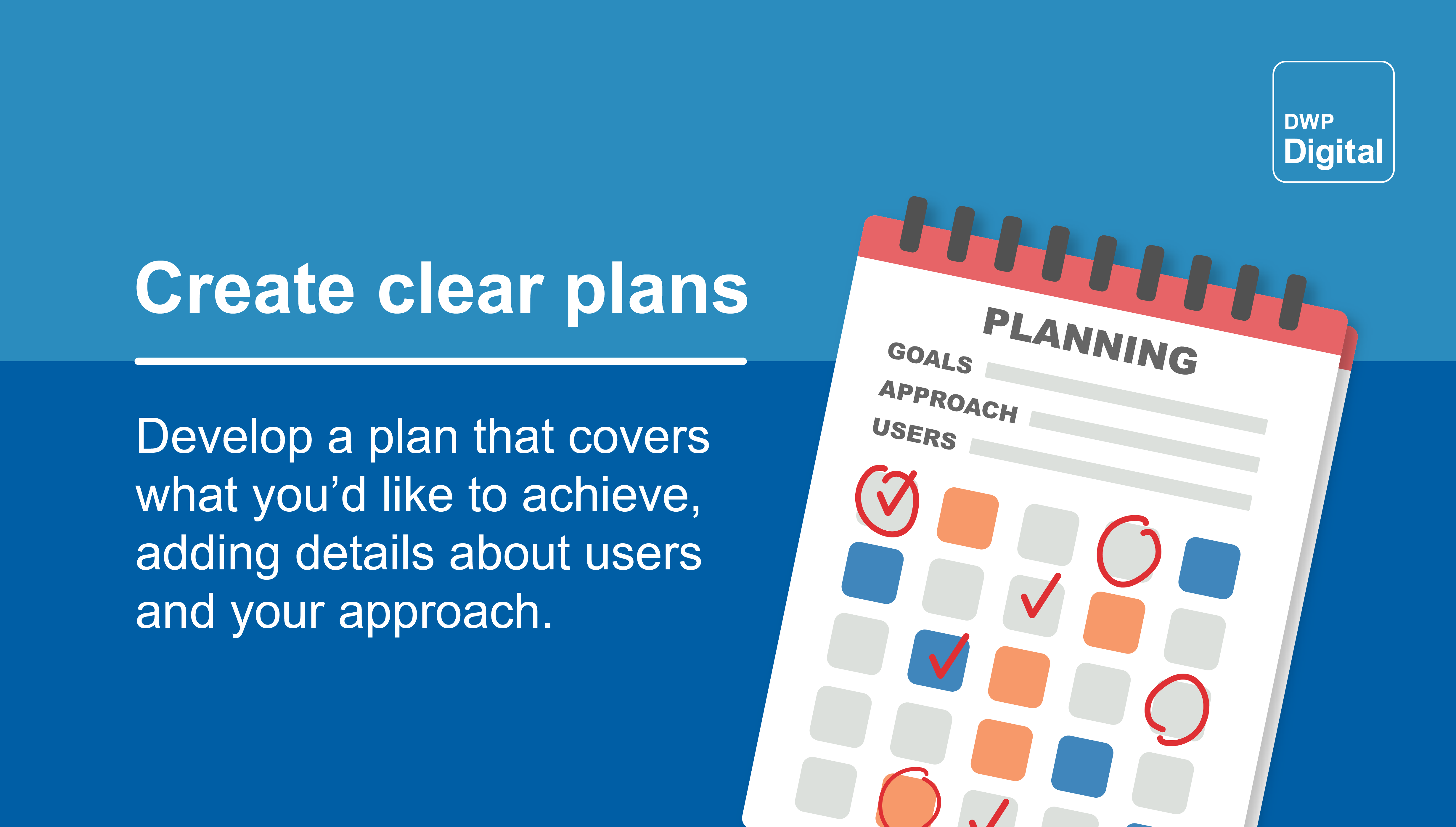 """Graphic showing a to-do list, with the words: """"Develop a plan that covers what you'd like to achieve, adding details about users and your approach."""""""