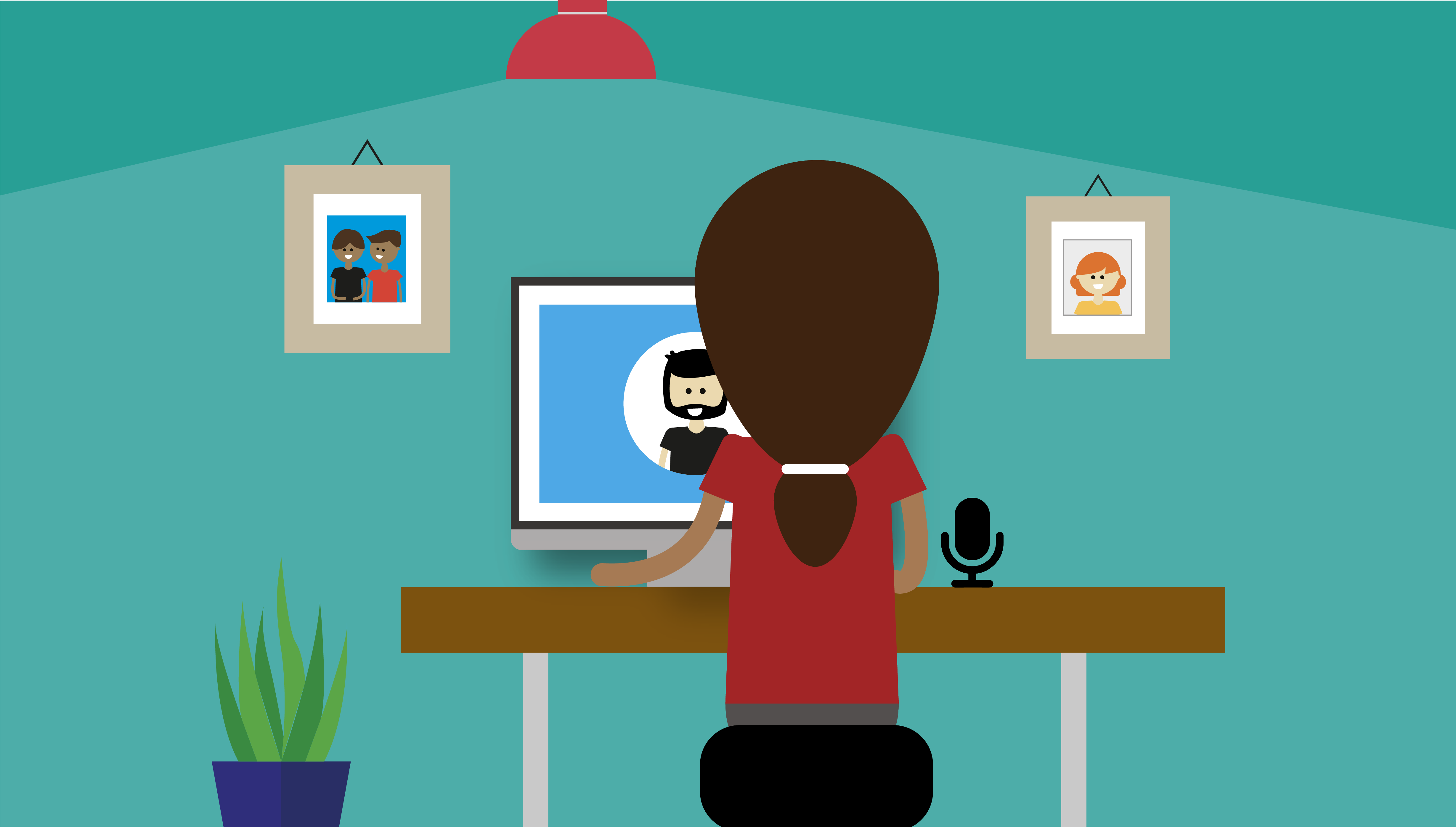 Illustrated graphic showing someone having a video interview at a desk. There is a microphone on the desk, and the oter person appears on their computer screen.