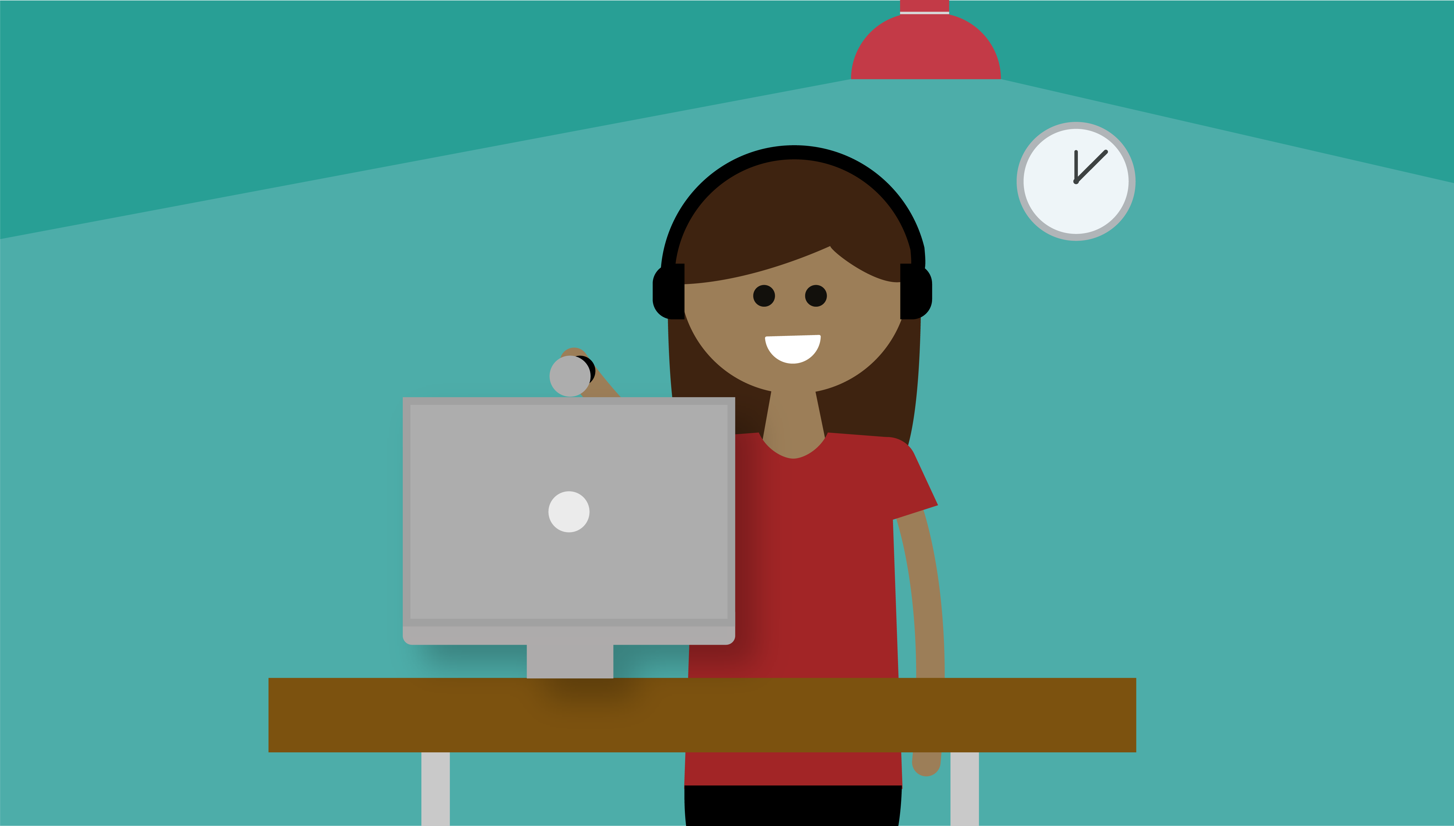 Illustrated graphic of a person smiling into their webcam at a computer desk