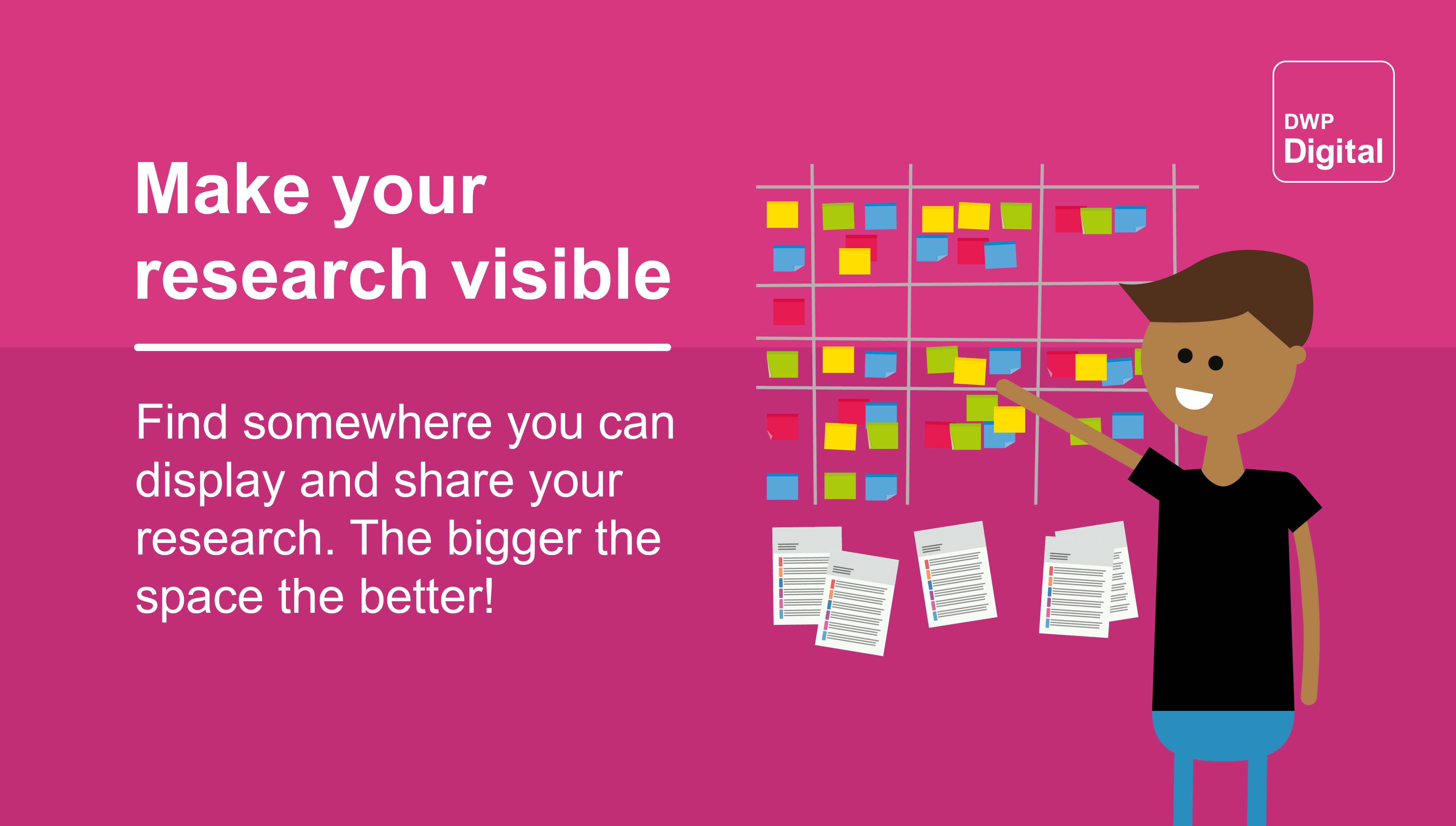 """Graphic showing a person in front of a kanban style wall, with the text: """"Find somewhere you can display and share your research. The bigger the space the better!"""""""