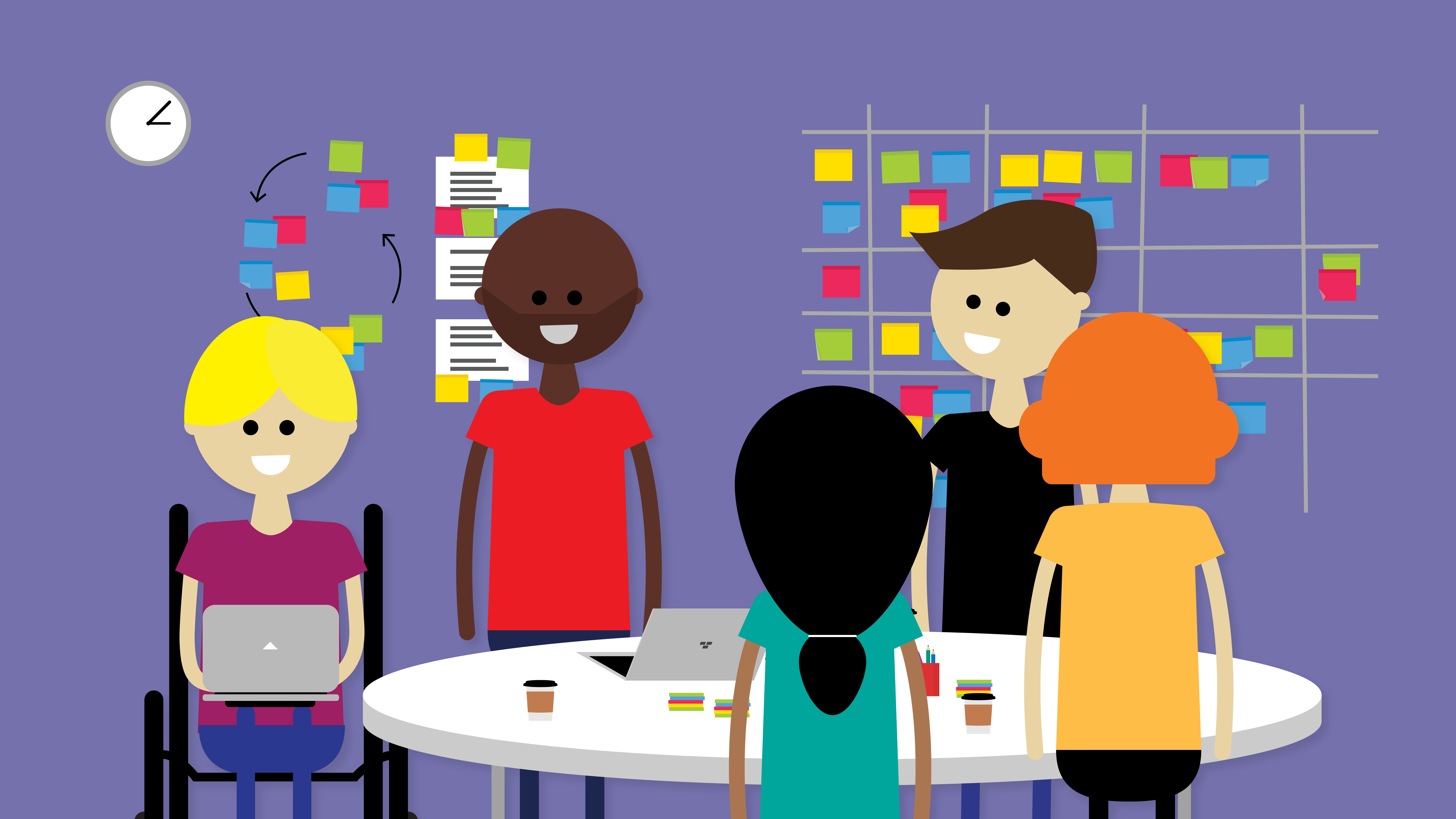 Graphic showing a team of people meeting in front of a wall of post-it notes