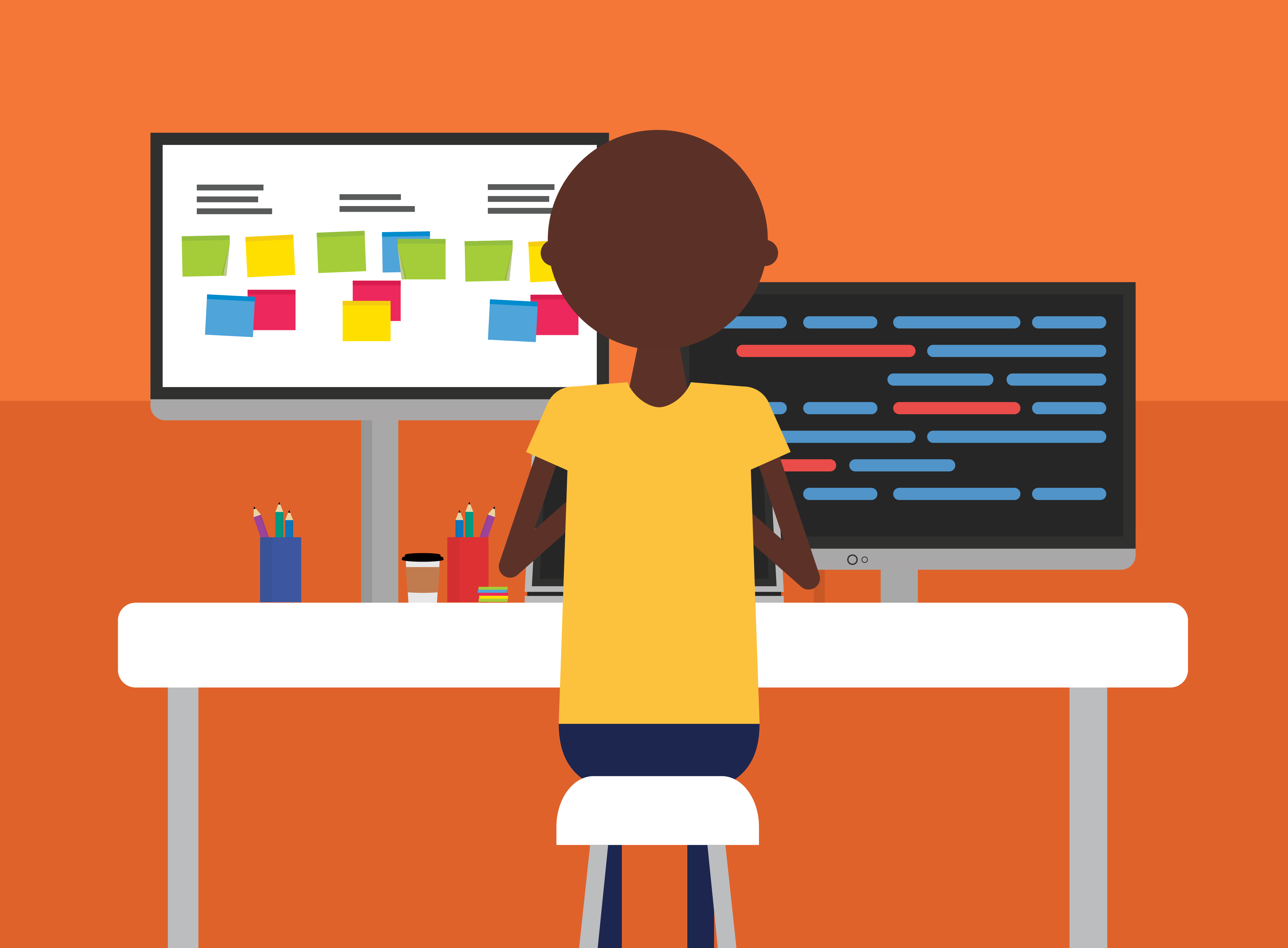 Graphic showing a person at a kanban board covering in data