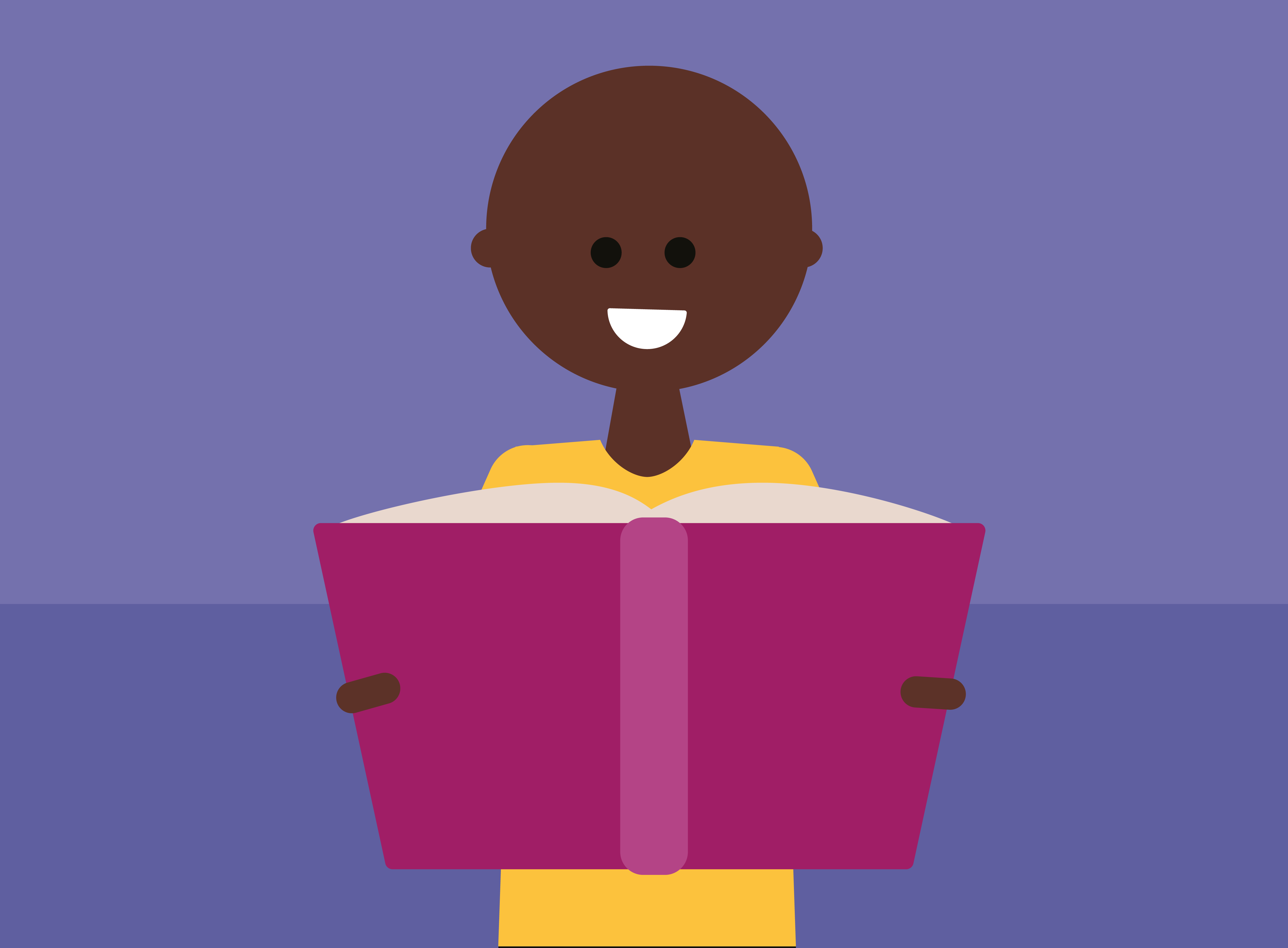 Graphic of a person reading from a large book