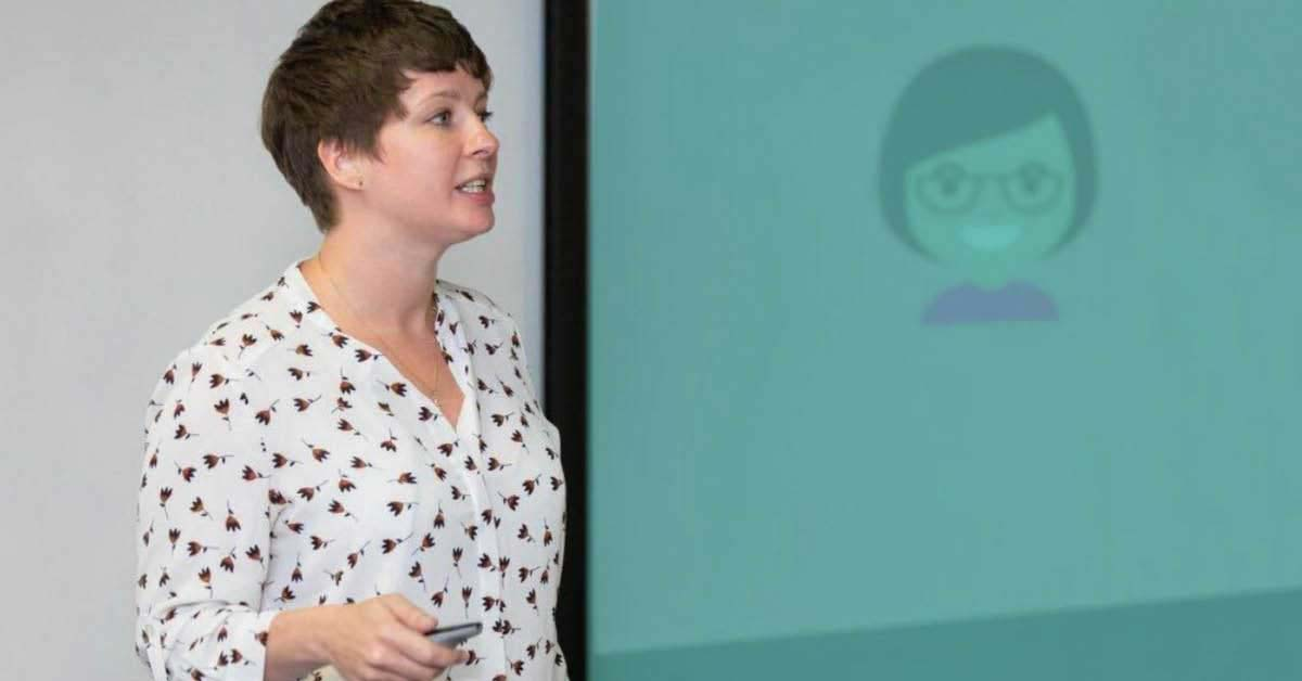 Gemma giving a presentation on analytics