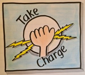 Illustration of a hand grasping lightning, and the words 'take charge'
