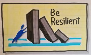 Illustration of a character holding up a stone, with the words 'be resilient'