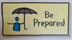 Illustration of a person holding an umbrella, and the words 'be prepared'